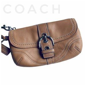 COACH Soho leather tan beige wristlet purse